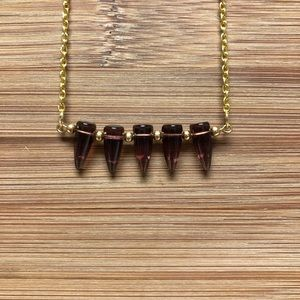 Handmade Purple Clear Spike Bar Necklace